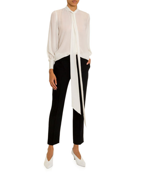Givenchy Scarf-Neck Chiffon Blouse