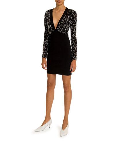Pearly-Embellished V-Neck Dress