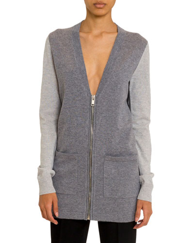Cashmere Colorblocked Zip-Front Cardigan