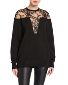 Givenchy Lace-Inset Crewneck Sweater