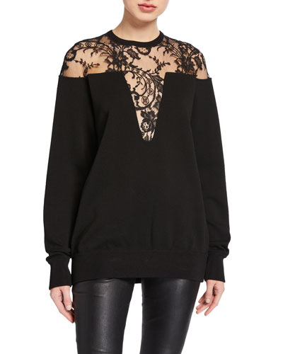 Lace-Inset Crewneck Sweater