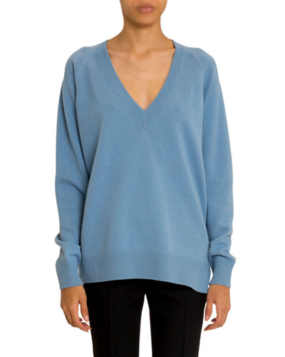 Cashmere-Wool V-Neck Side Zip Sweater