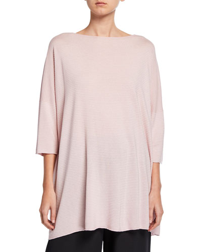 3/4-Sleeve Long Square Silk Top