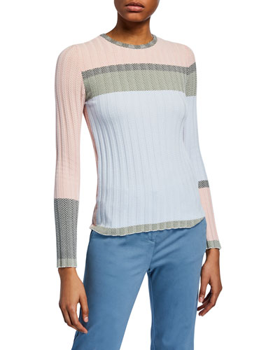 Colorblock Chevron Ribbed-Knit Sweater