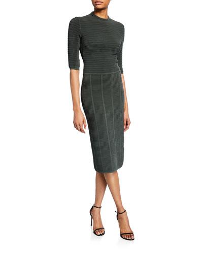 1/2-Sleeve Ottoman-Ribbed Sheath Dress