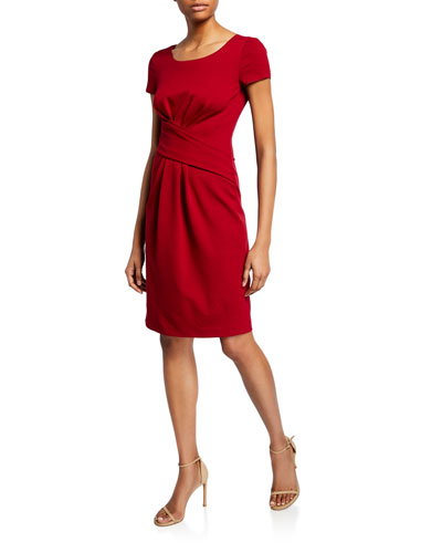 Ruched-Front Milano Jersey Dress