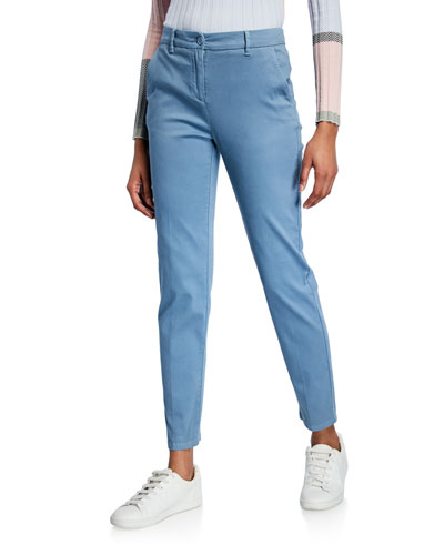Casual Fitted Stretch-Cotton Pants
