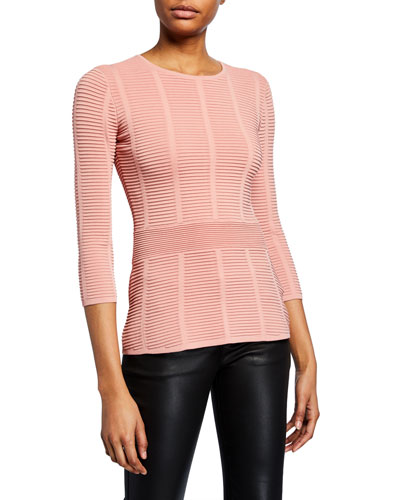 Mayfair 3/4-Sleeve Ottoman Ribbed Sweater