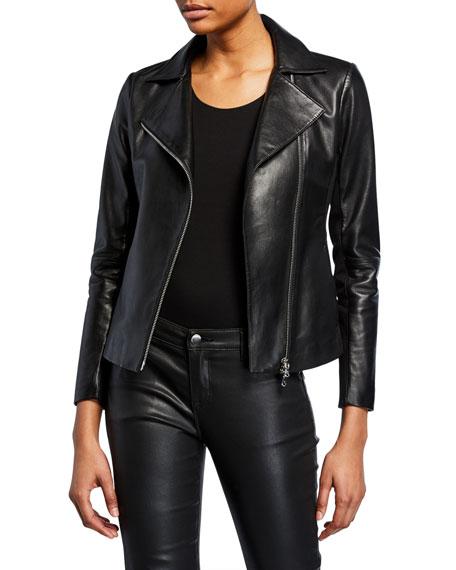 Emporio Armani Zip-Front Knit-Trim Leather Moto Jacket