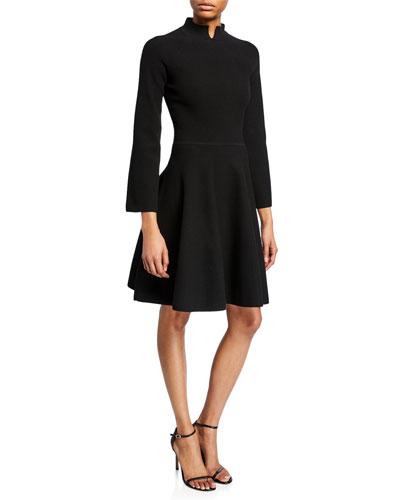 Split High-Neck Bracelet-Sleeve Dress
