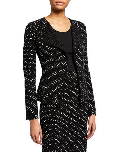 Dot-Jacquard Asymmetric Zip-Front Jacket