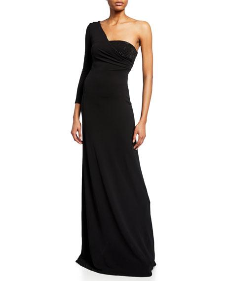 Emporio Armani One-Sleeve Velvet Gown