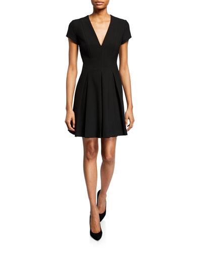 Short-Sleeve Cady Pleated-Skirt Dress