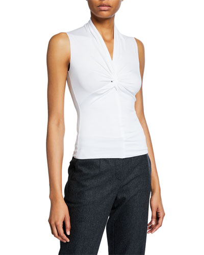Sleeveless Ruched-Front Jersey Top, White