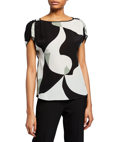 Abstract-Printed Silk Cap-Sleeve Blouse