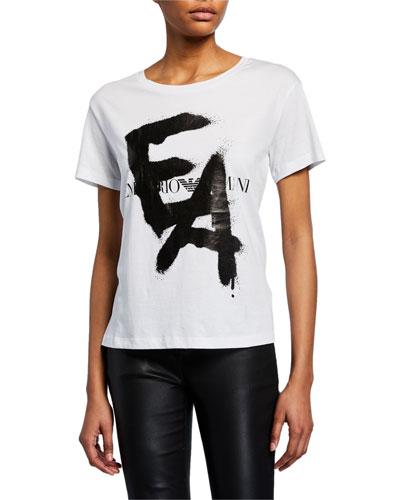 Short-Sleeve Spray-Painted Logo Tee