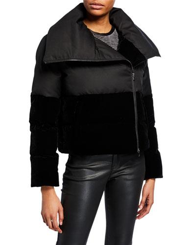 Quilted Nylon & Velvet Puffer Coat