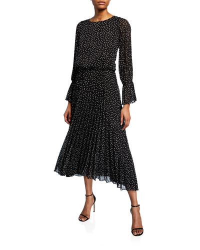 Long-Sleeve Swiss-Dot  Dress