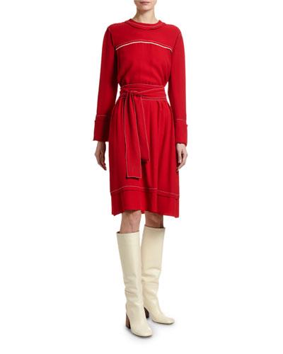 Crepe Satin Long-Sleeve Dress