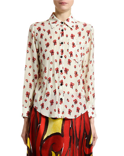 Peace-Print Silk Button-Front Blouse