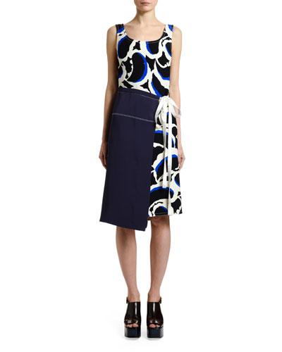 Sleeveless Teardrop-Print Dress