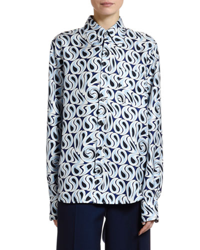 Turbulent-Print Silk Twill Button Front Blouse
