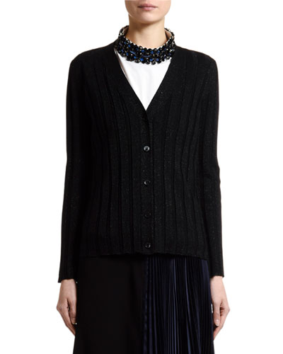 Shimmer Ribbed-Knit Cardigan