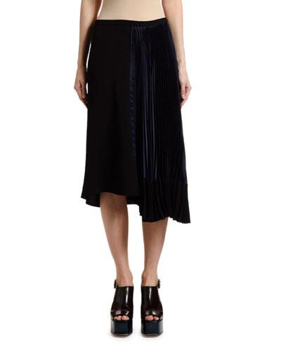Plisse Satin Asymmetric Skirt