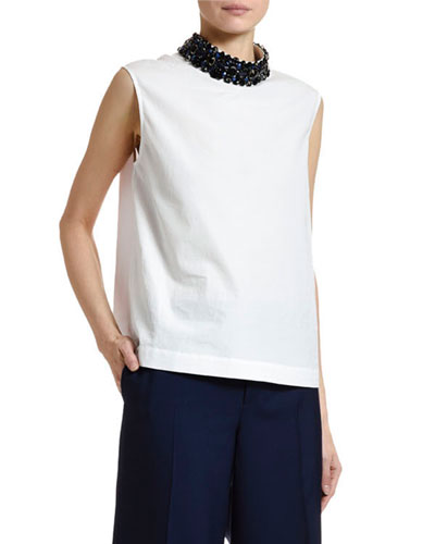 Sleeveless Cotton Poplin Jewel-Neck Blouse