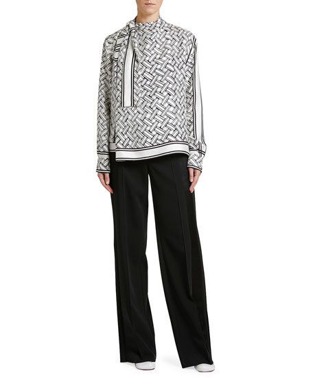 Bottega Veneta Twisted-Front Intreccio-Print Silk Top