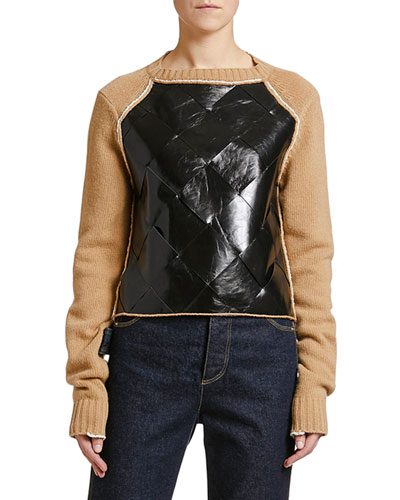 Leather-Front Wool Sweater