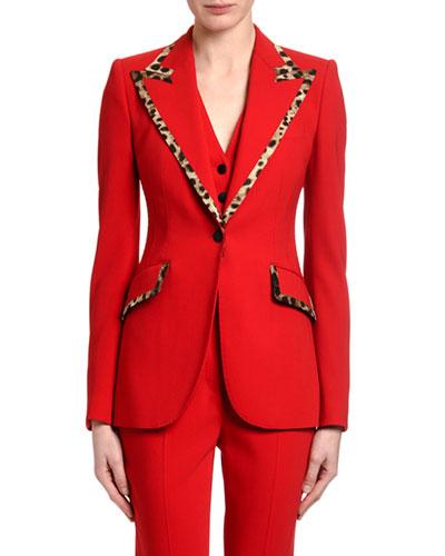 Leopard-Trimmed Wool Blazer