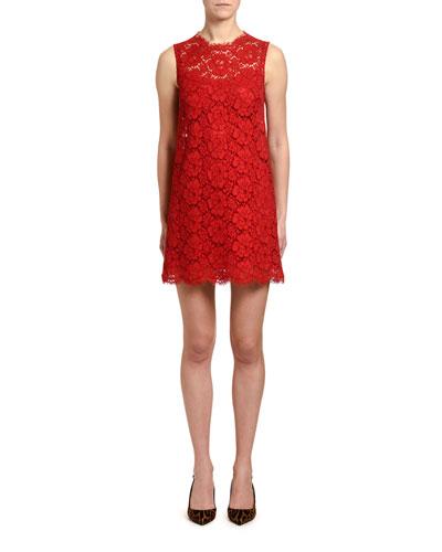 Sleeveless Cordonetto Lace Shift Dress