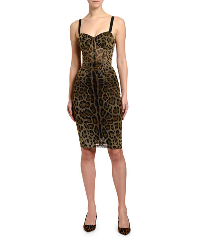 Leopard-Print Thin-Strapped Tulle Dress