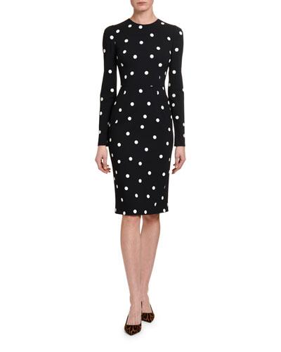 Long-Sleeve Polka-Dot Bodycon Dress