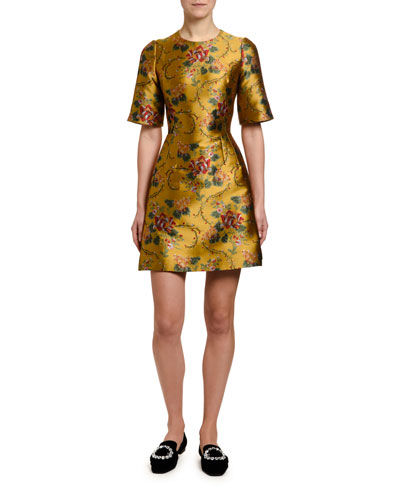 1/2-Sleeve Floral-Jacquard Cocktail Dress