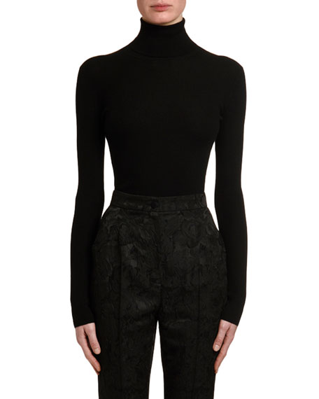Dolce & Gabbana Cashmere-Silk Thin-Ribbed Turtleneck Sweater
