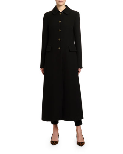 Ankle-Length Wool Crepe Coat