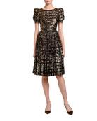 Dolce & Gabbana Leopard Print Fil-Coupe Puff-Sleeve Dress