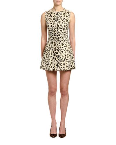 Leopard Print Faux-Fur Dress