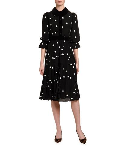 Long-Sleeve Polka-Dot Crepe de Chine Dress