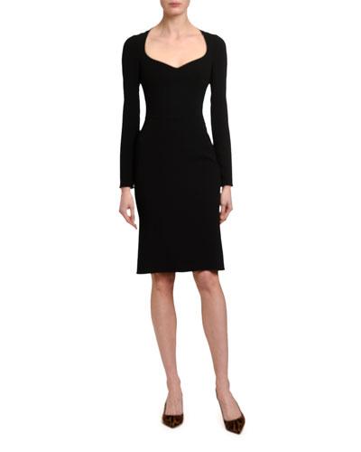 Long-Sleeve Sweetheart Heavy Lace Dress