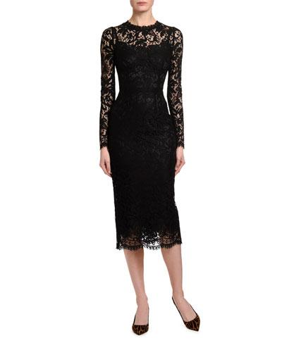 Heavy-Lace Cocktail Dress