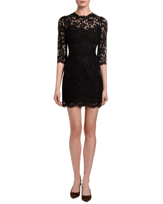 3/4-Sleeve Heavy Lace Dress