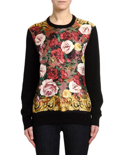 Long-Sleeve Baroque Rose Silk Sweater