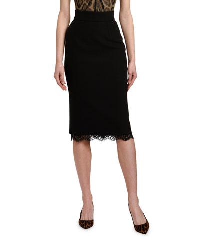 Lace-Hem Pencil Skirt