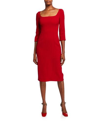 3/4-Sleeve Crepe Open-Neck Dress