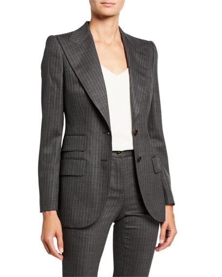 Dolce & Gabbana Pinstripe Stretch-Wool Blazer Jacket