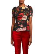 Dolce & Gabbana Baroque Roses Short-Sleeve T-Shirt