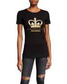 Dolce & Gabbana Glitter Crown Logo T-Shirt
